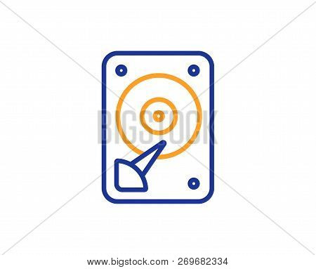 Hdd Icon. Hard Disk Storage Sign. Hard Drive Memory Symbol. Colorful Outline Concept. Blue And Orang