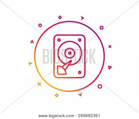 Hdd Icon. Hard Disk Storage Sign. Hard Drive Memory Symbol. Gradient Pattern Line Button. Hdd Icon D