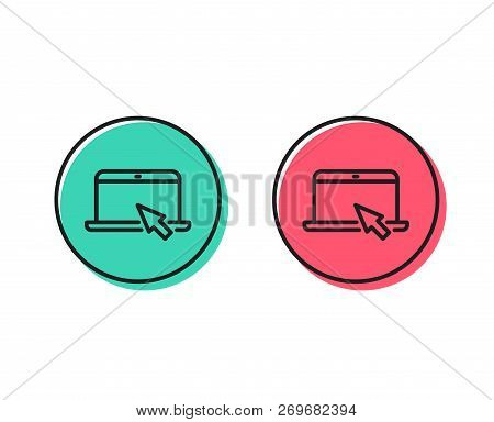 Laptop Computer Icon. Notebook With Mouse Cursor Sign. Portable Personal Computer Symbol. Positive A