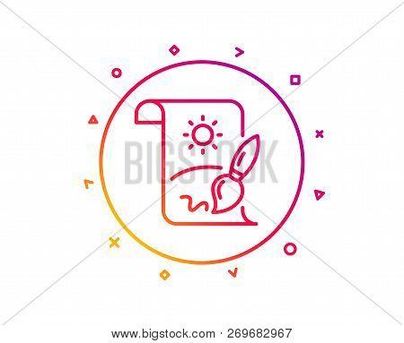 Creative Painting Brush Line Icon. Creativity Sign. Graphic Art Symbol. Gradient Pattern Line Button