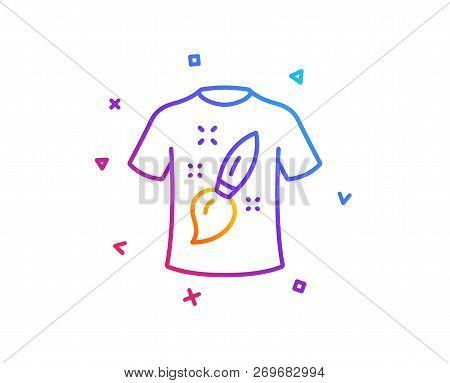 T-shirt Design Line Icon. Creative Brush Sign. T Shirt Graphic Art Symbol. Gradient Line Button. T-s