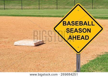 Baseball Season Ahead Caution Sign With Baseball Diamond Background