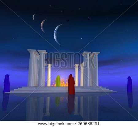 Ancient temple and its mysterious priests. 3D rendering
