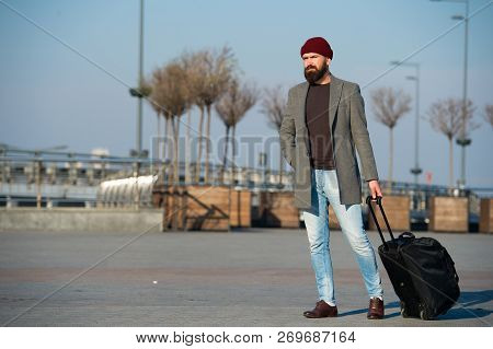 Hipster Ready Enjoy Travel. Carry Travel Bag. Business Trip. Man Bearded Hipster Travel With Big Lug