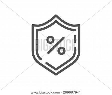 Loan Percent Line Icon. Protection Shield Sign. Credit Percentage Symbol. Quality Design Flat App El