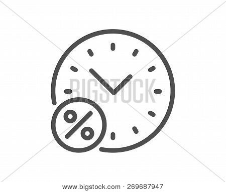 Loan Time Percent Line Icon. Discount Sign. Credit Percentage Symbol. Quality Design Flat App Elemen