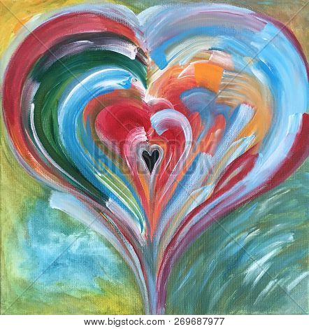 Acrylic Painting On Canvas Of Colorful Heart With Small Black Center