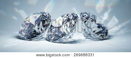 Diamonds in bright light on blue background. 3D illustration.