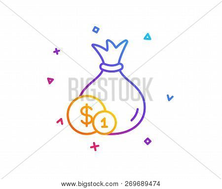 Money Bag With Coins Line Icon. Cash Banking Currency Sign. Dollar Or Usd Symbol. Gradient Line Butt