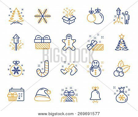 Christmas, New Year Line Icons. Santa Hat, Gingerbread Man And Gift Box Icons. Fireworks, Snowflake