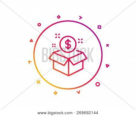 Post Package Line Icon. Paid Service Sign. Gradient Pattern Line Button. Post Package Icon Design. G