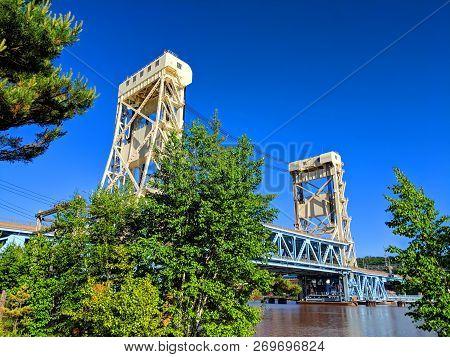 Portage Lake Lift Bridge Between Houghton And Hancock In Michigans Upper Peninsula