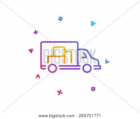 Truck Transport Line Icon. Transportation Vehicle Sign. Delivery Symbol. Gradient Line Button. Truck