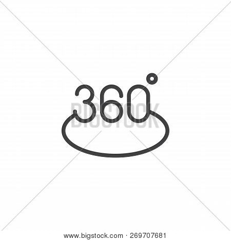 Rotation 360 Degree Outline Icon. Linear Style Sign For Mobile Concept And Web Design. 360 Angle Pan