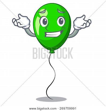 Grinning Green Baloon On Left Corner Mascot