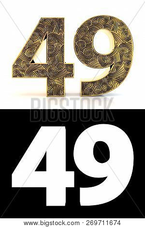 Golden Number Forty-nine (49 Years) On White Background With Pattern Style Zentangle, Drop Shadow An