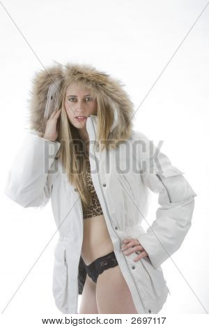 Lingerie Fashion Model And Coat