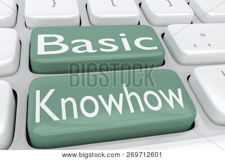 3d Illustration Of Computer Keyboard With The Script Basic Knowhow On Two Adjacent Green Buttons