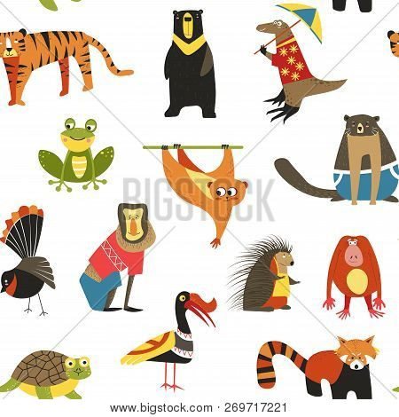 Exotic Animals Variety Seamless Pattern Isolated On White, Lemur And Hedgehog Vector.