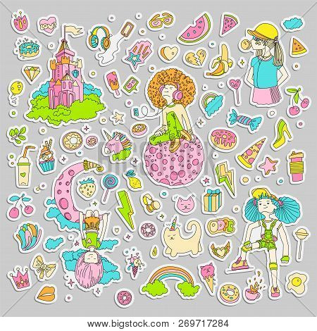 Colored Set Of Teenage Girl Stickers, Cute Cartoon Teen Patches, Fun Stickers Design Vector In Teena