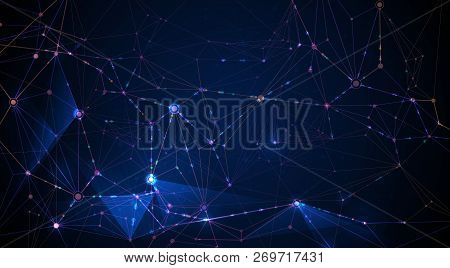 Vector Illustration Molecule And Internet Connect Technology On Dark Blue Background. Abstract Inter