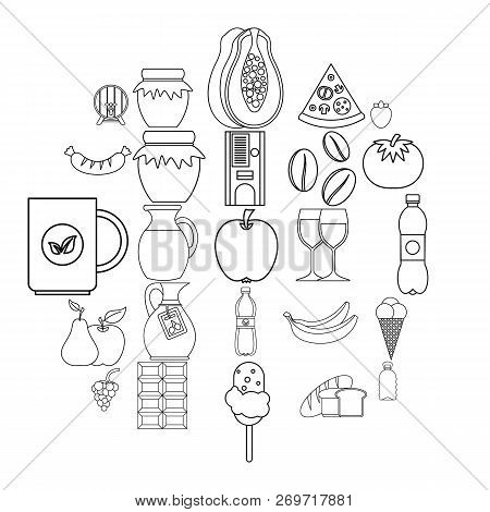 Elite Tea Icons Set. Outline Set Of 25 Elite Tea Vector Icons For Web Isolated On White Background