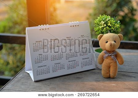 Desktop Calendar 2019 Place On Wooden Office Desk.calender And Teddy Bear For Planner Timetable,agen