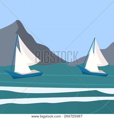 Vector Picture Yacht Regatta Off The Coast. Vector Illustration Of A Cartoon Yacht Regatta Near The
