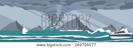 Vector Picture The Storm Caught Yachts The Ocean. Vector Illustration Of A Cartoon The Strongest Sto