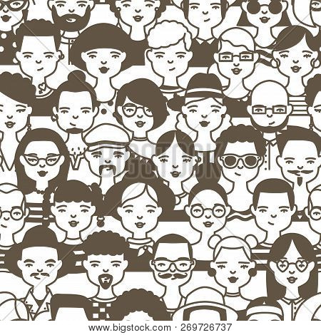 Seamless Pattern With Faces Or Heads Of Cute Smiling People. Backdrop With Trendy Men And Women Draw