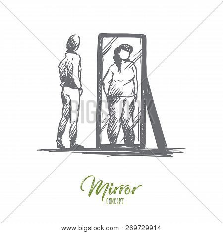 Girl, Mirror, Body, Distorted, Weight Concept. Hand Drawn Unhappy Teenage Girl Looks At Mirror With