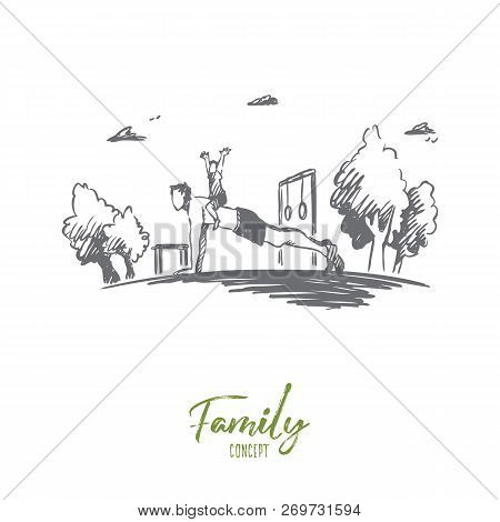 Family, Activity, Dad, Child, Pushup Concept. Hand Drawn Young Father Doing Exercises With His Son C
