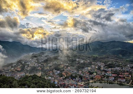 Aerial View Panorama Sapa City; Beautiful Water Reflection In A Sunny Day In Sapa City, Lao Cai, Sap