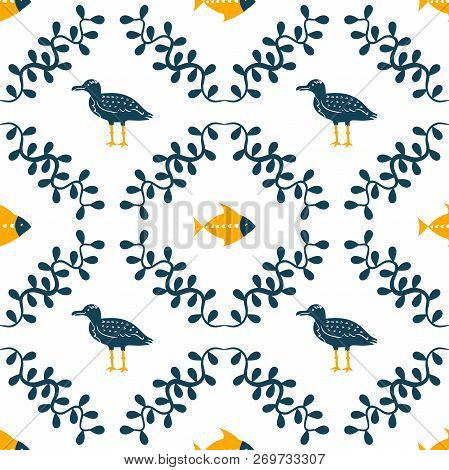 Sea Gull, Fish And Floral Water Plant Simple Styling Print. Two Color. Print For Kids T-shirt And Se