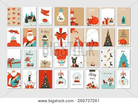 Hand Drawn Vector Abstract Fun Merry Christmas Time Cartoon Illustrations Greeting Cards And Backgro