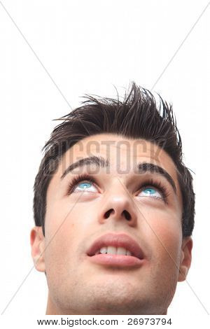 Handsome man with blue eyes looking up, isolated on white