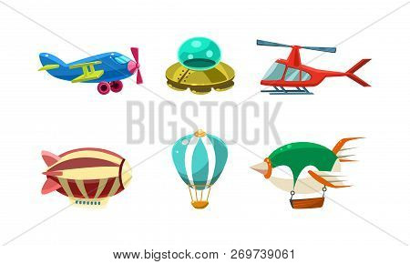 Cute Cartoon Aircrafts Bright Colors Set, Airplane, Blimp, Ufo, Helicopter, Hot Air Balloon Vector I