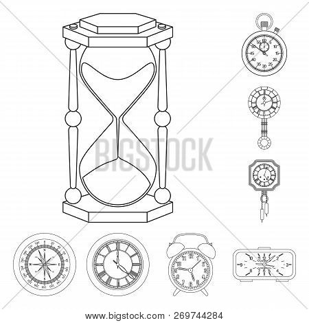 Vector Illustration Of Clock And Time Logo. Collection Of Clock And Circle Vector Icon For Stock.
