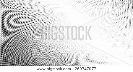 Abstract Monochrome Grunge Halftone Pattern. Soft Dynamic Lines. Half Tone Vector Illustration With
