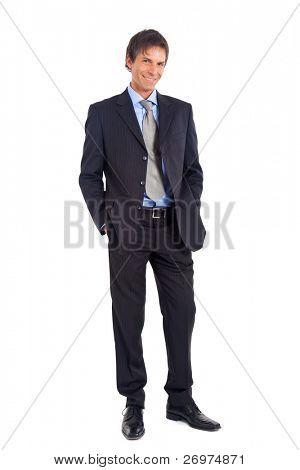 Retrato de cuerpo entero de empresario Senior aislado en blanco
