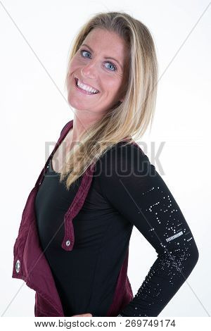 Beautiful Smiling 40 Forties Mid Woman In Wintertime Clothes In Winter Concept