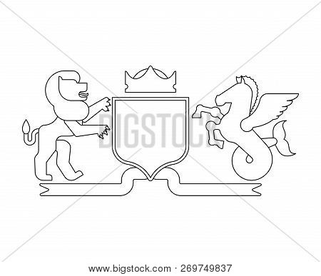 Heraldic Shield Lion And Hippocampus And Knight Helmet. Fantastic Beasts. Template Heraldry Design E