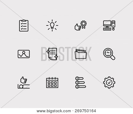 Task Icons Set. Organize Workplace And Task Icons With Priorities, To-do List And Reward Yourself. S
