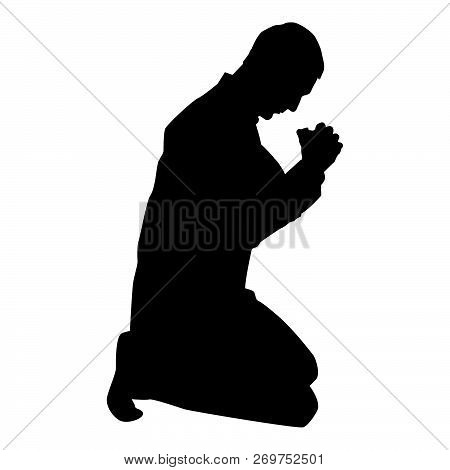 Man Pray On His Knees Silhouette Icon Black Color Vector Illustration Flat Style Simple Image