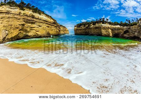 The Great Ocean Road of Australia. Magnificent little beach  in ocean fjord of Pacific ocean. The concept of exotic, active and photo-tourism