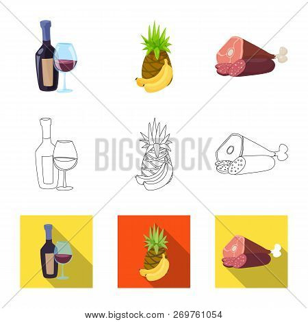 Isolated Object Of Food And Drink Logo. Collection Of Food And Store Vector Icon For Stock.