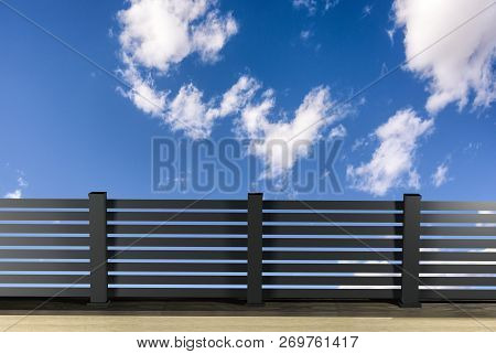 Alu Fence. Aluminum Fence With Clouds Sky Background. 3d Illustration