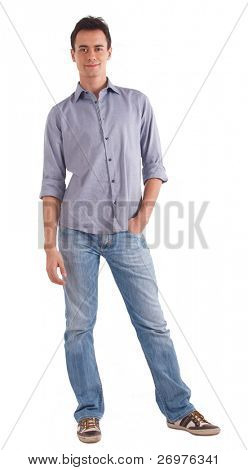 Full length portrait of a smart young man. Isolated on white.