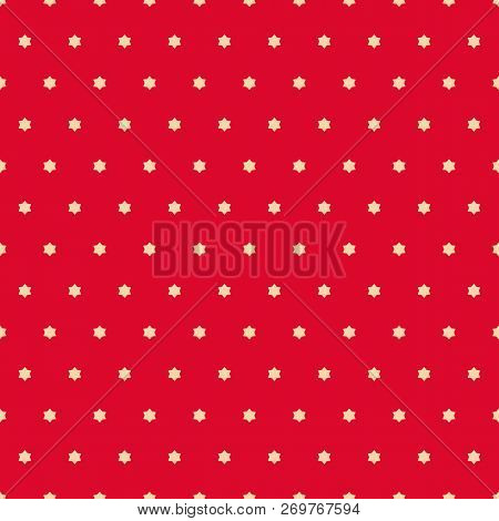 Vector Minimalist Seamless Pattern. Simple Red And Gold Texture With Tiny Stars, Floral Shapes. Abst