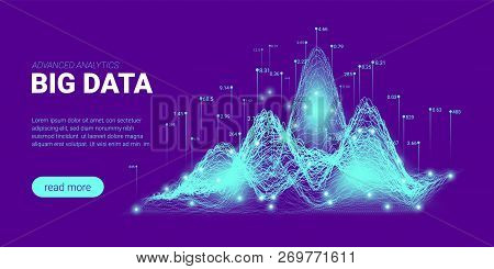 Quantum Computing, Big Data Visualization. Landing Page Futuristic Concept. 3d Technology Background. Quantum Cryptography Visual Presentation. Information Sorting, Security Code Design. poster